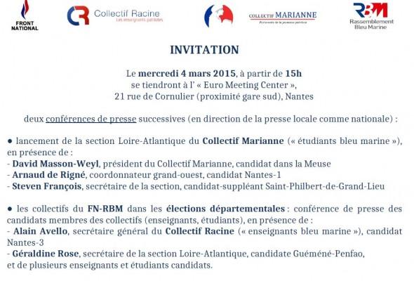 «Les enseignants et étudiants dans la campagne des départementales» Nantes – 4 mars 2015