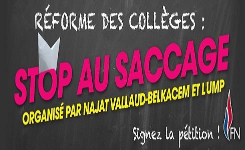 Reforme des collèges : stop au saccage du collège organisé par Najat Vallaud-Belkacem et l'UMP !