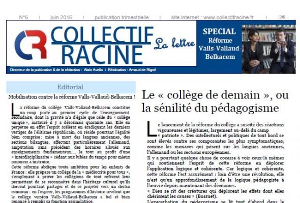 « La Lettre » du Collectif Racine (n°6 | juin 2015)