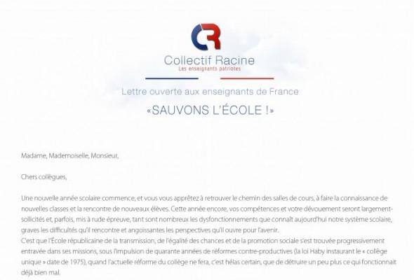 Lettre ouverte aux enseignants de France