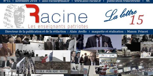 LA LETTRE DE RACINE n°15 – novembre 2018