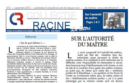 « La Lettre » du Collectif Racine (n°2 | septembre 2014)