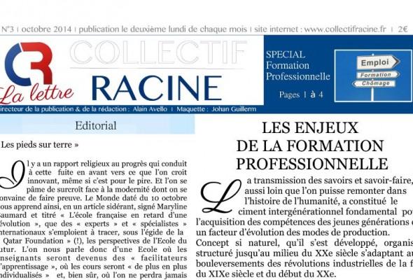 « La Lettre » du Collectif Racine (n°3 | octobre 2014)