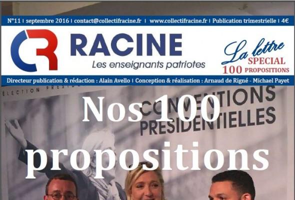 « La Lettre » du Collectif Racine (n°11 | septembre 2016)